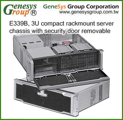 E339B, 3U compact rackmount server chassis with security door removable