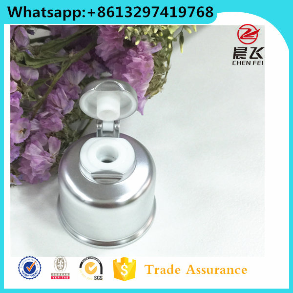 Top quality custom silver aluminum flip cap plastic cap 20 410 flip top cap for liquid