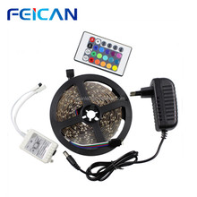 led tape light smd3528 multi color RGB IP65 waterproof strips+power supply+24keys remote controller complete set/kit