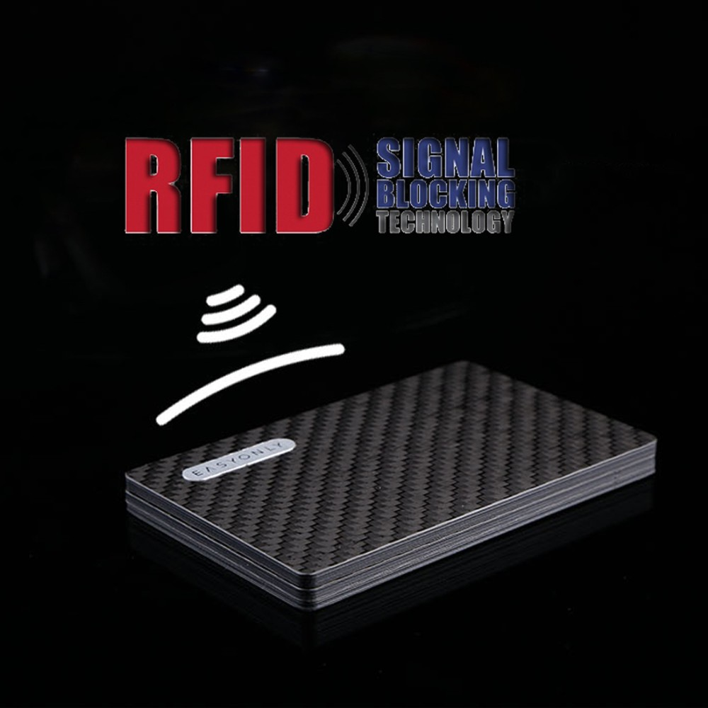 2017 new rfid protect carbon fiber credit card holder wallet