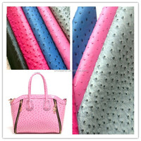 HX212 High quality Ostrich grain 100% pu synthetic leather for bags