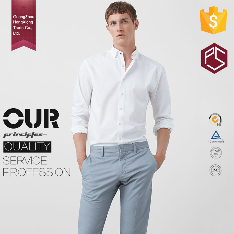 Guangzhou OEM Wholesale 100% Cotton Customize High Quality Long Sleeve Blank White Men's Dress Shirt