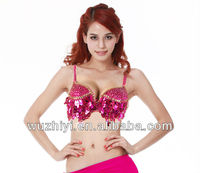 New Sexy Arabic Rose Sequin Belly Dance Top Bra for Lady Dancers performance (QC8004)