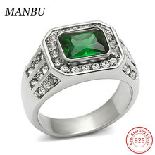 925 Sterling Silver Cubic Zirconia White Gold Plated CZ Ring Designs For Men