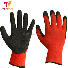 disposable 10 Gauge Polyester Latex Crinkle Finish anti-slip latex gloves
