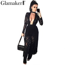 Glamaker 2017 Sexy black lace jumpsuit romper Summer harem pants jumpsuit Women for party