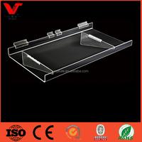 Clear Acrylic slatwall Shoe Display Shelf / Racks /Acrylic Footwear Holder