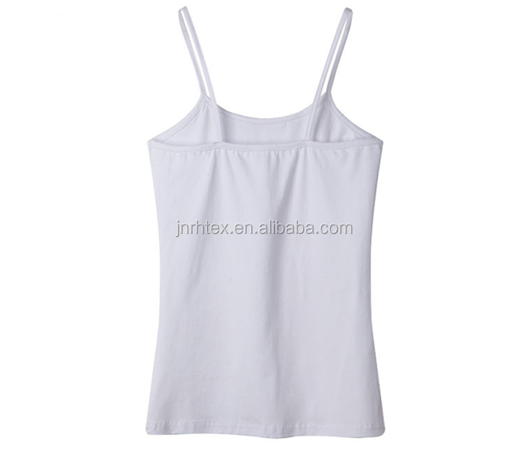 high quality various color cotton/spandex spaghetti strap women white tank top