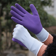 SRSAFETY EN388 3130 13G knitted nylon liner light blue coating purple foam latex coated landscaping glove