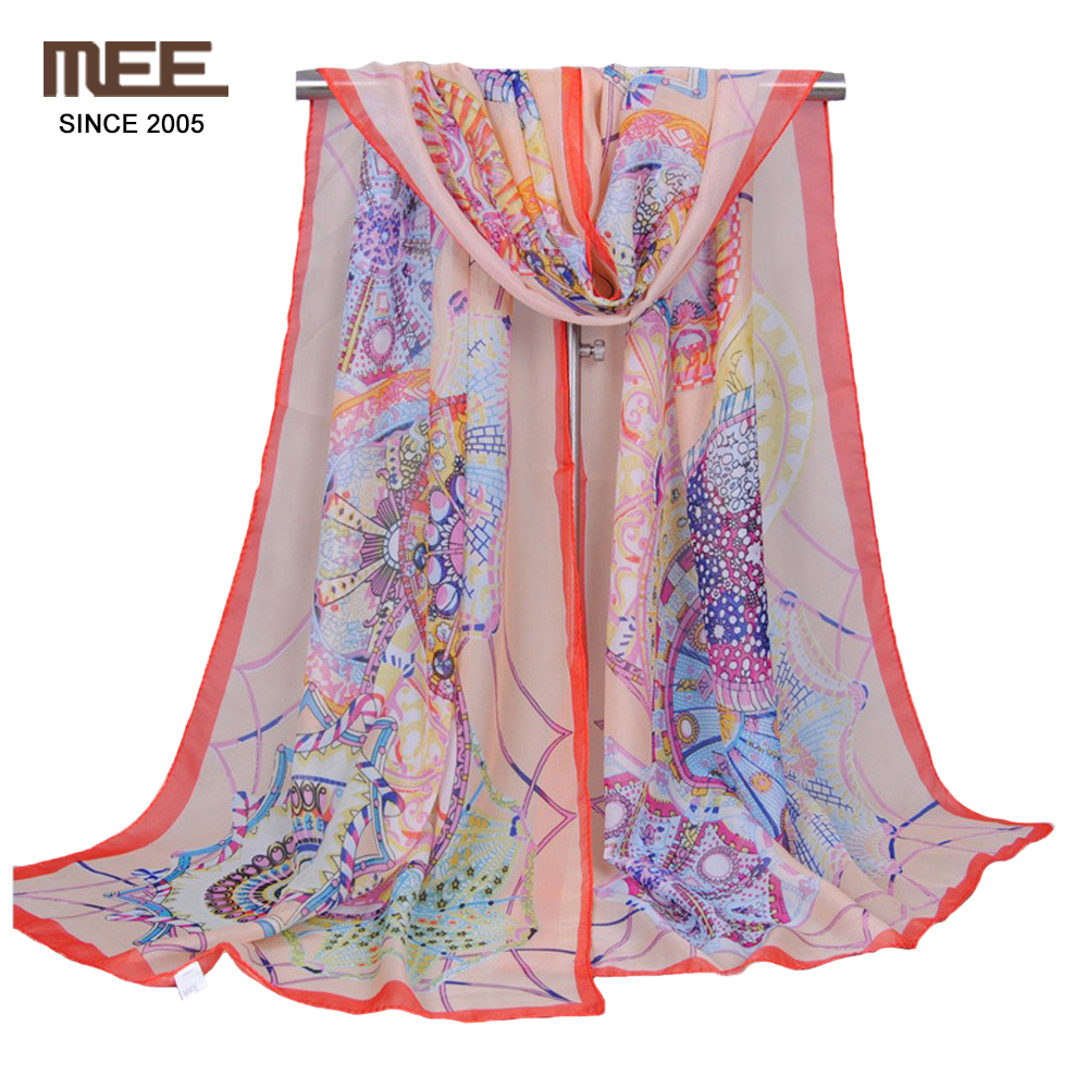 Print orange frame silk scarf orange frame small fashion scarves