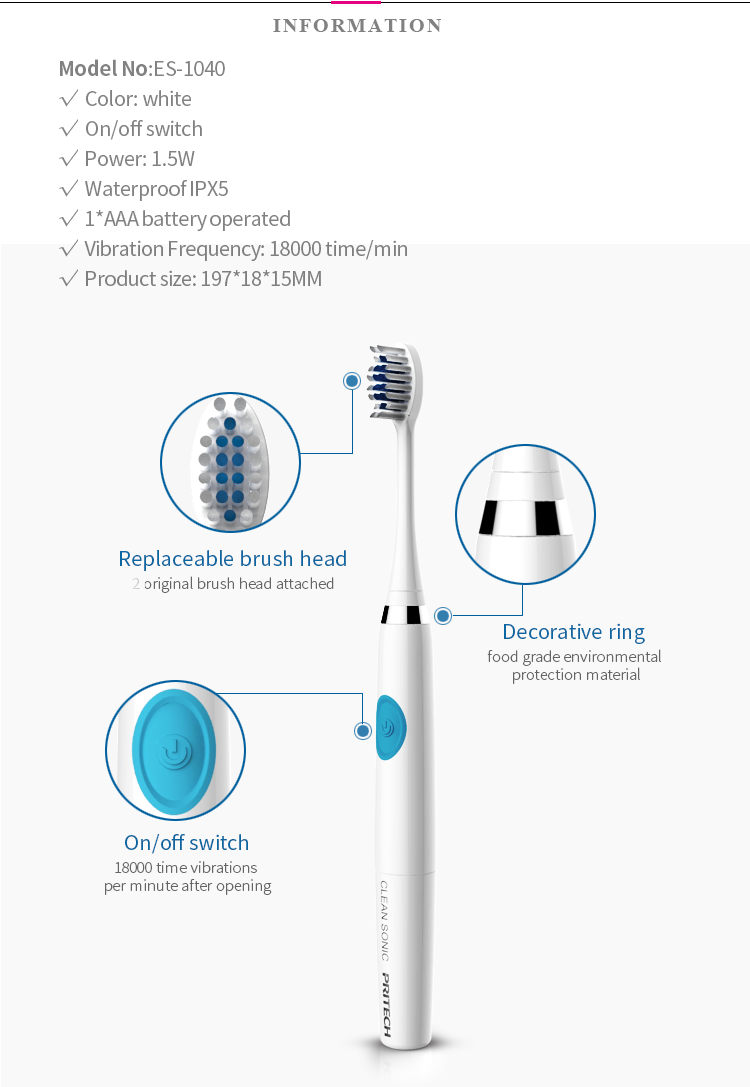 PRITECH Waterproof Battery Operated Tooth Brush Electric Sonic Vibrator Toothbrush