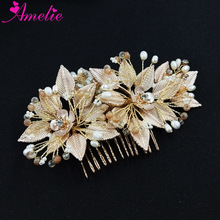 Western Wedding Favors Freshwater Pearl Gold Leaf Bridal Hair Comb Women Headpiece Beach Hair Accessories Jewelry