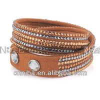 Hot products for leather crystal wrap bracelets bangles costume jewelry imported bracelets china