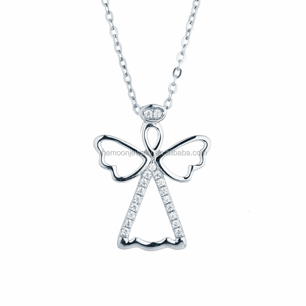 wholesale 925 sterling silver rhodium plated with cubic zirconia angel pendant