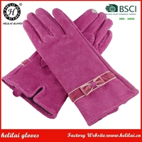HELILAI Suede Smart Phone Gloves,Pink Women Embroi Women Gloves,Bow Pigskin Gloves