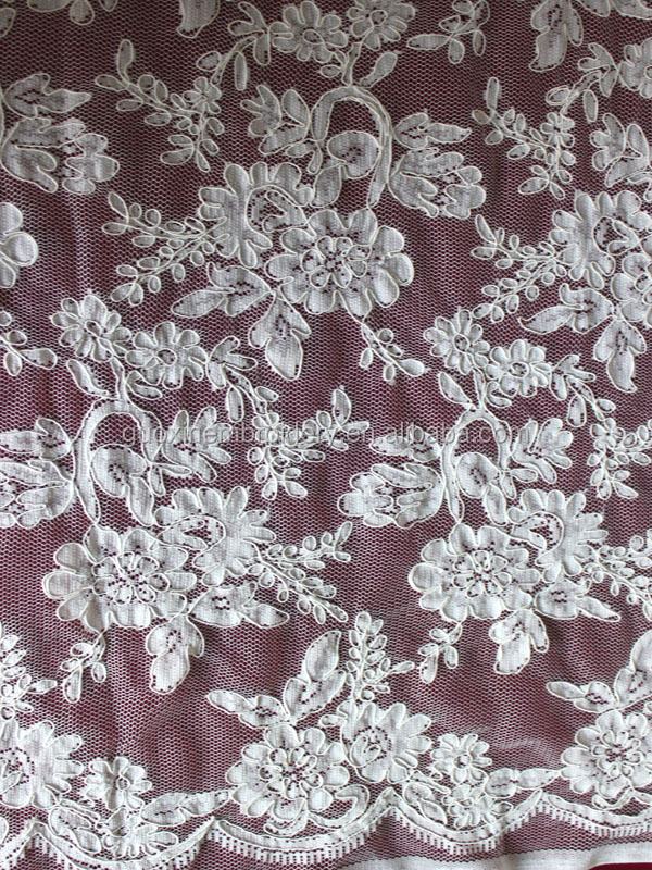 lycra elastic lace/jacquard lace with cording for wedding dress in 2015