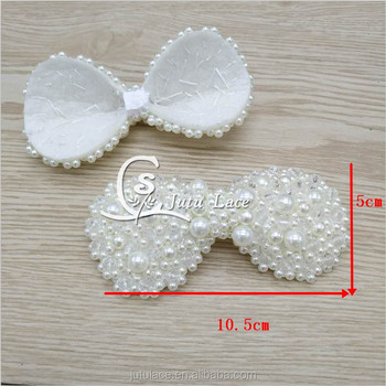 Handmade beads sequin bowknot applique for headband designed pearl bows