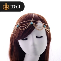 2016 fashion new design hot sales tassel chain headband turquoise cheap indian fashion wholesales jewelry//