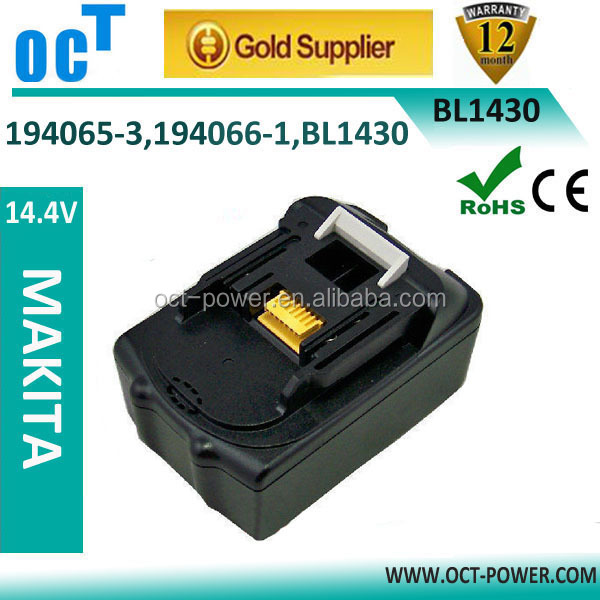 2014 New Replacement Power tool battery 14.4 V 3000mAh Li-ion for Makita BL1430 194066-1 194065-3 BL1415