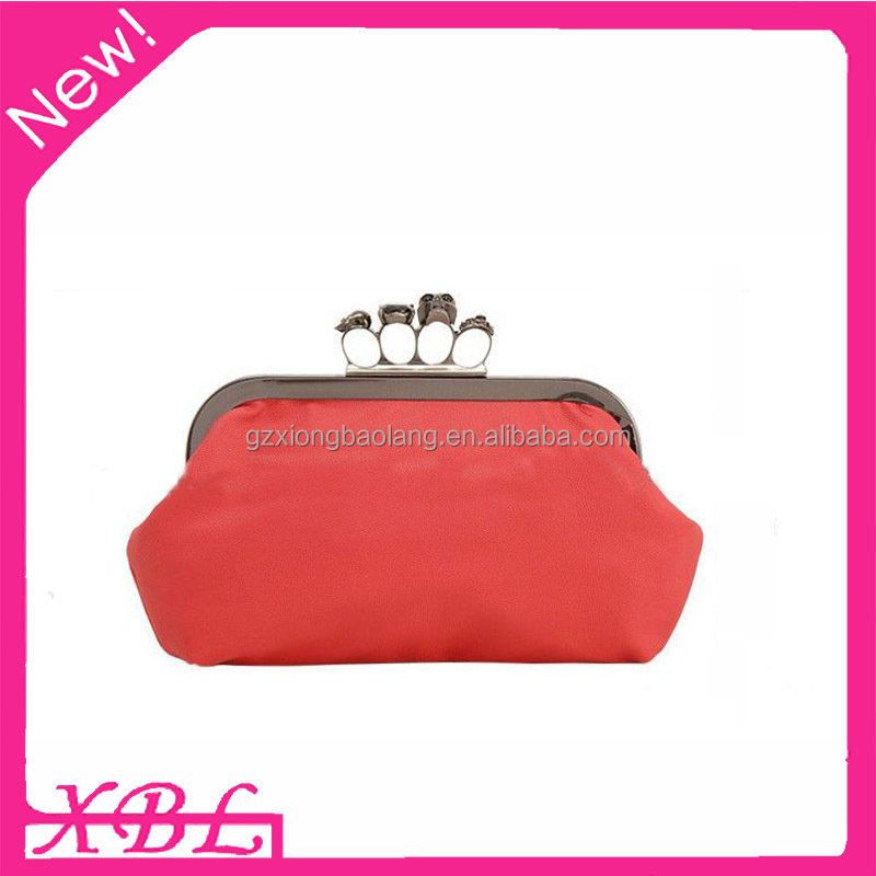 XBL Women Red Clutch Purse 4 Ring Skull Satin Evening Clutch Bag L-631