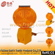 led solar traffic warning strobe light with metal plate for pillar stand