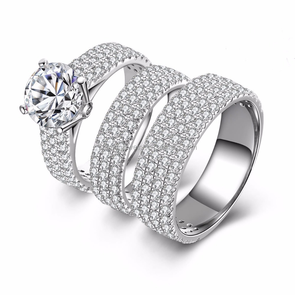 Pure 925 Sterling Round Zirconia CZ Halo Wedding Engagement Ring Set Three Piece