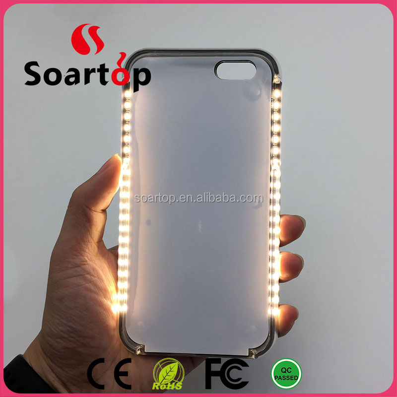 pc hard material smartphone customer printed led light phone case for i5/5s/SE