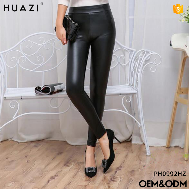 winter thick PU sexy leather legging