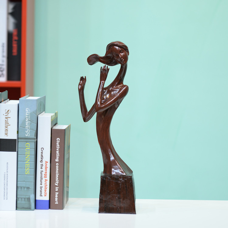 New product decorative elegant musician woman wood figurine