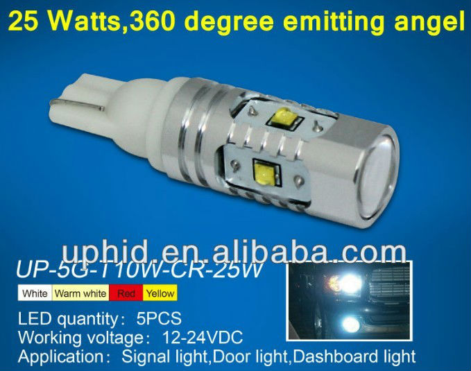 25W 25w t10 cree 360 degrees High Power T10 Wedge Light LED Bulbs for W5W, 2825, 2827, 168, 194