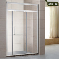 Simple Design Aluminium Frame Temper Glass Shower Partition with Sliding Doors