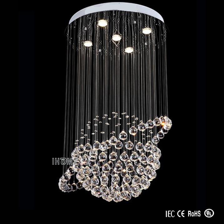 Globe Shape Modern & Contemporary Crystal Drop Pendant Light 5 Lights Bulbs