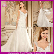 SD905 Lace open back cap sleeve with sweetheart lace fit and flare wedding dress