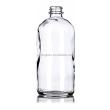 500ml 16oz liquid soap bottle Clear Boston Round Glass Bottle with black cap