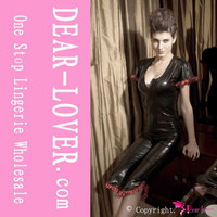 Black tight high quality cheap catsuit costume leather