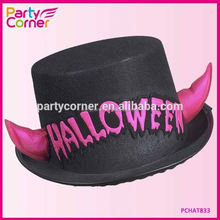 Halloween Top Hat WIith Pink Reflective Horns