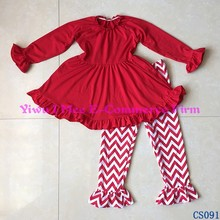 Fall Boutique Girls clothes red ruffle top with chevron pant outfits ruffle kids clothing baby wholesale children clothing set