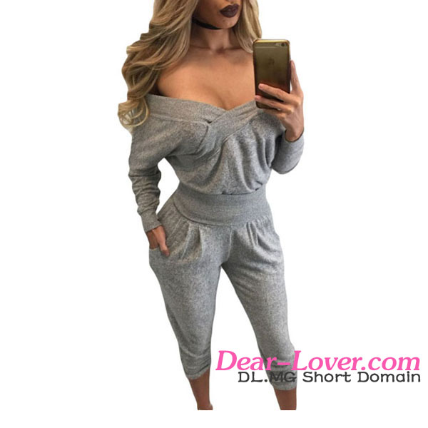 China Manufacturer Casual Long Sleeves Off Shoulder Crop Sexy Tracksuit Women