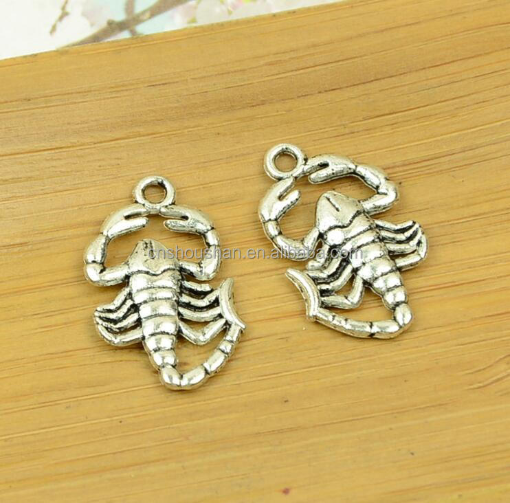 Have stock 26x15mm DIY antique silver Scorpions alloy charm pendant animal charm