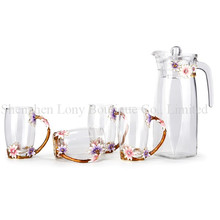 Mouth blown high quality coloured enamel glass pitcher jug, glass water pitcher, crystal glass juice water jug set