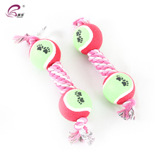 Custom Colored Cotton Rope Dog Toy With Two Tennis Ball