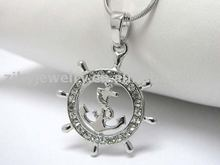 White gold plating crystal stud nautical wheel pendant necklace