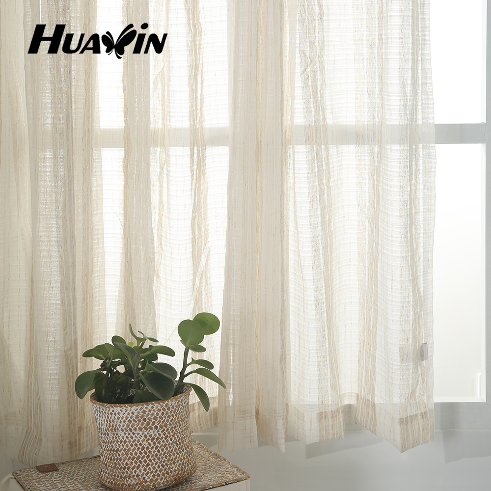 100%polyester linenlook stripe ready made curtains