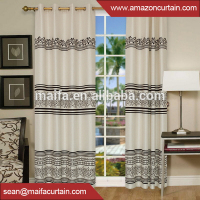100% polyester linen fabric middle east flocking curtain wholesale linen curtains