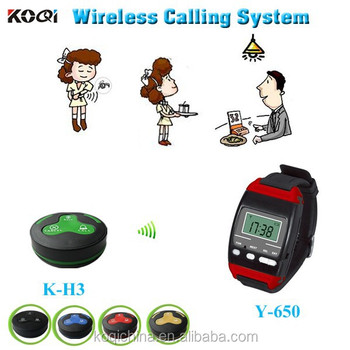 Cheap Waiter server paging service system Y-650 watch with K-H3-B button