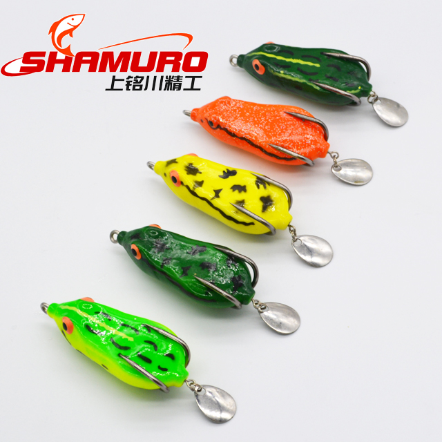 Hot Sale Thunder frog with sequins 7cm 11g Barb hook Silica gel bait frog fishing lure frog lure