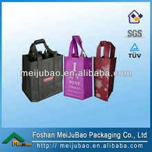 Hot sell green cloth non woven 6 bottle wine tote bag