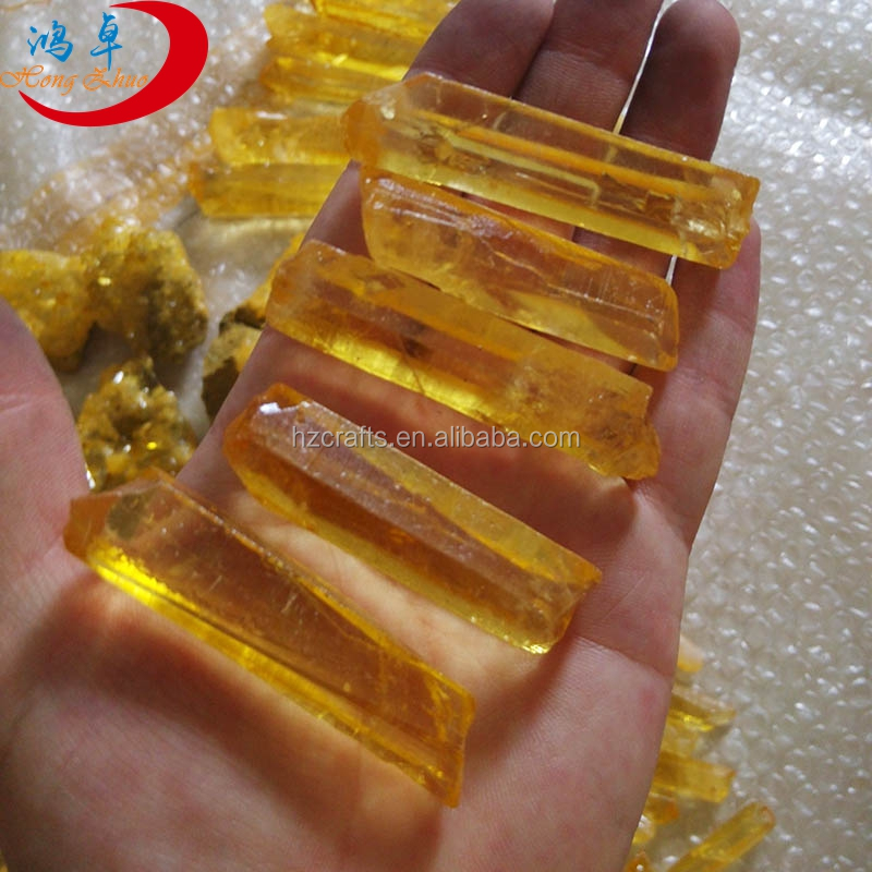 Amazing light citrine Aura crystal quartz point , Beautiful raw titanium crystal