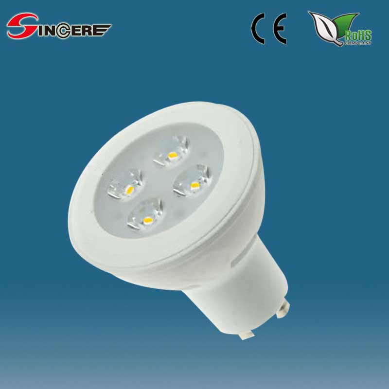 3/4/5/7W led spotlight bulb,plastic and aluminum,dimmable Gu5.3 GU10