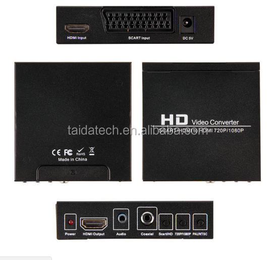 Scart/HDMI to HDMI 720P <strong>1080P</strong> HD Video Converter Monitor Box For HDTV DVD STB